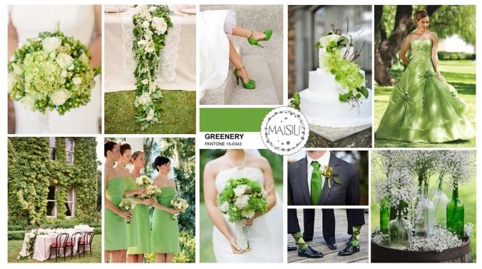 pantone greenery wedding inpsiration board